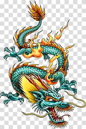 of yellow and green dragon, China Chinese dragon Tattoo Legendary creature, dragon PNG clipart