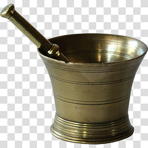 Mortar and pestle Brass Antique Bronze, apothecary PNG