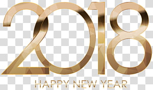 happy new year 2018 text, 2018 Happy New Year Gold PNG clipart