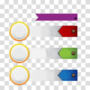 four assorted-color ribbons illustration, Line Angle Point, Rectangular and circular decoration PPT PNG clipart