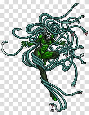 Medusa Snake Greek mythology, Colored Medusa s PNG
