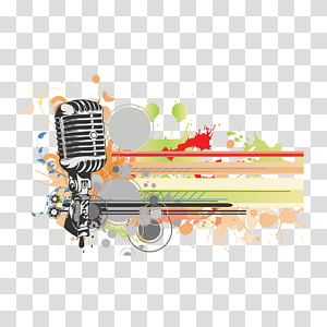 white and gray condenser microphone illustration, Background music Concert, watercolor and microphone PNG clipart