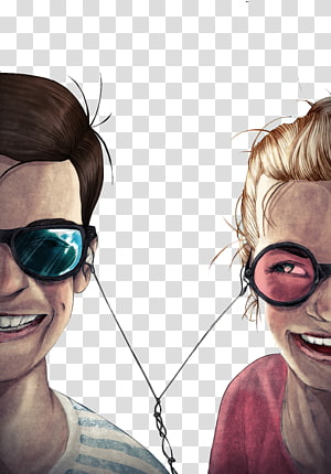 girl and boy using earphones painting, Graphic design Illustrator Illustration, Glasses men and women listen to music together PNG
