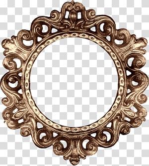 round brass mirror frame, frame Decorative arts , Retro round frame PNG clipart
