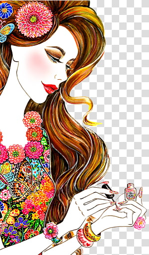hand-painted beautiful foreign women PNG clipart