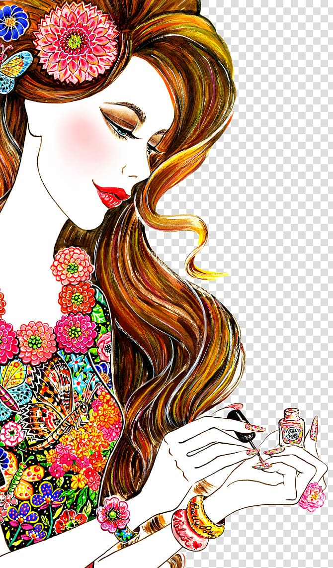 hand-painted beautiful foreign women PNG