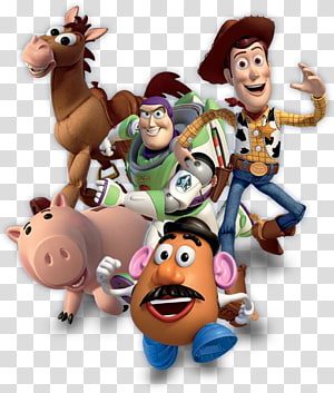 five Disney Pixar Toy Story characters illustration, Sheriff Woody Toy Story 3 Buzz Lightyear Pixar, toy story PNG