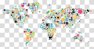 Social media marketing World map, social media PNG