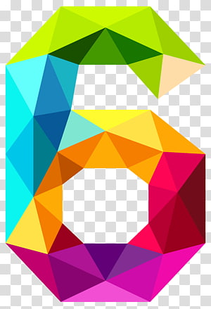 Number , Colourful Triangles Number Six , multicolored #6 illustration PNG