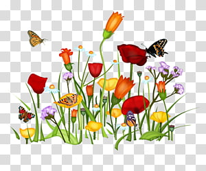 Animaatio Cartoon Drawing, purple flowers and grass PNG