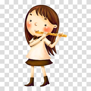 Flute Musical instrument Child, The little girl with a flute PNG clipart