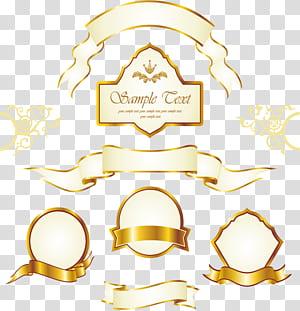 Gold Label Euclidean , Vintage gold frame label, assorted s PNG