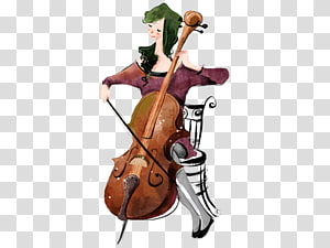 cartoon woman playing the cello PNG