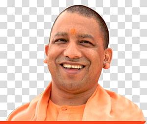 smiling man wearing orange button-up top, Yogi Adityanath Lucknow Chief Minister, India Government of Uttar Pradesh, yogi PNG