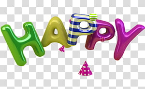 3D computer graphics, Happy Balloons 3D text PNG clipart