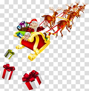 cartoon santa and sleigh PNG clipart