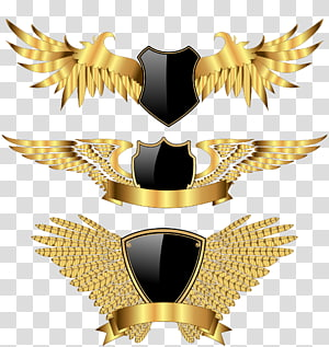 three gold-and-black shield with wings , Wing, Golden wings PNG
