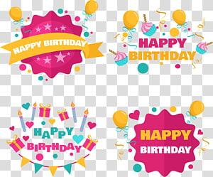 several Happy Birthday illustrations, Birthday cake Party Birthday card, Candle Cake Birthday Card PNG clipart