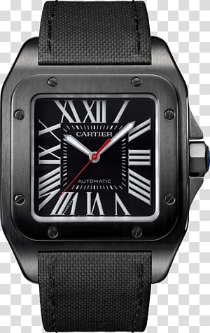 Cartier Santos 100 Automatic watch Cartier Ballon Bleu, Carbon Steel PNG