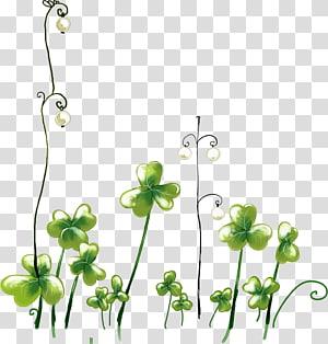 Cartoon Mural , Fresh green hand-drawn cartoon lucky clover PNG clipart