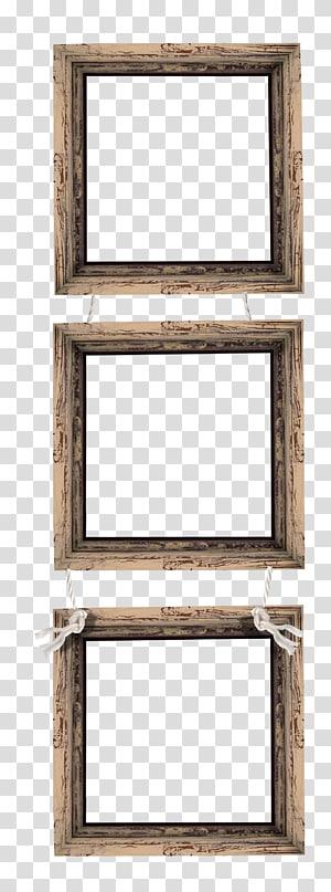 three square brown hanging frames illustration, Frames Wood , wood frame PNG