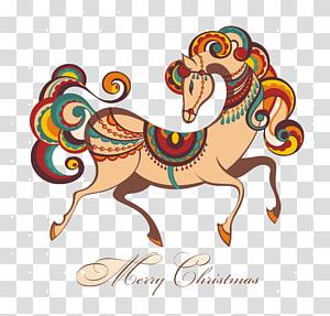 Horse Illustration, Fashion horses PNG clipart