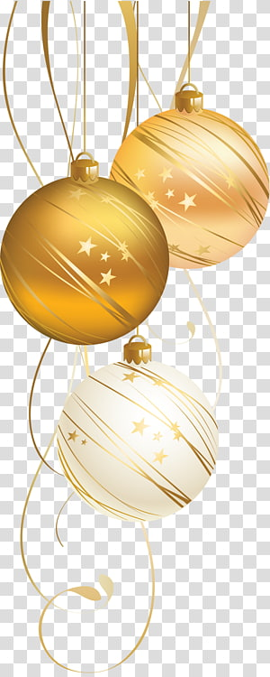 white and brown bauble, Christmas ornament Christmas decoration New Year Christmas card, Golden Christmas Ball PNG clipart