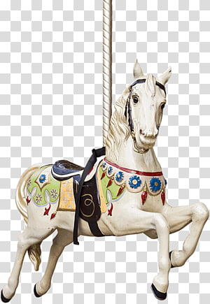 white horse carousel, Horse Carousel Gallop Illustration, Running horse PNG clipart
