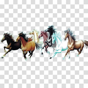 group of running horses , Horse painting Interior Design Services Room Galloping, horse PNG clipart