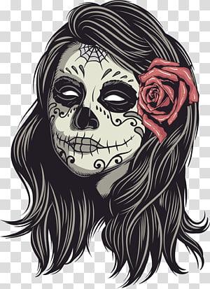 calavera illustration, La Calavera Catrina Human skull symbolism, Muertos PNG