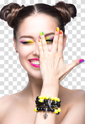 woman with multicolored manicure, Nail Beauty Model Make-up Cosmetics, Stylish women colorful makeup PNG