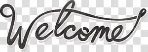 black Welcome signage, Vintage Welcome Sign PNG