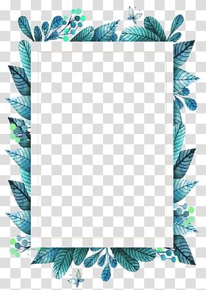 rectangular blue and green leaves frame , Leaf frame Green, green leaves PNG clipart