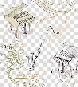 Piano Musical instrument Illustration, Piano and saxophone PNG