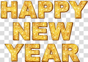 happy new year text, New Year\'s Day, Gold Happy New Year English WordArt PNG clipart