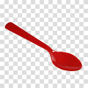 Wooden spoon Red plastic Tool, spoon PNG
