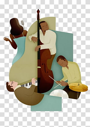 man playing violin illustration, Cello Double bass Modern Jazz Quartet Musician, band PNG