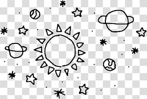 planets and star illustration, Sticker Drawing PicsArt Studio, Sun doodle PNG
