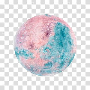pink and teal moon illustration, Planet Watercolor painting Illustration, Planet PNG clipart