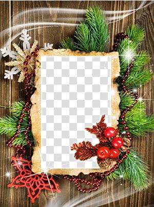 christmas style pine wood frame PNG