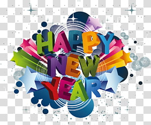 New Years Day Wish New Years Eve Happiness, English three-dimensional material Happy New Year background PNG