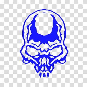 Skull Electric blue , blue skull PNG