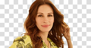 woman wears yellow and black floral top illustration, Julia Roberts Portrait PNG