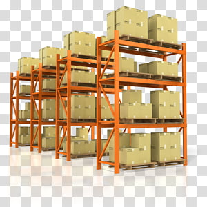 cardboard boxes on orange metal shelves illustration, Warehouse Logistics Mover Transport Distribution center, warehouse PNG clipart