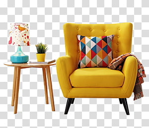 Window Living room Curtain Couch Furniture, American simple casual single modern sofa, tufted yellow leather armchair PNG