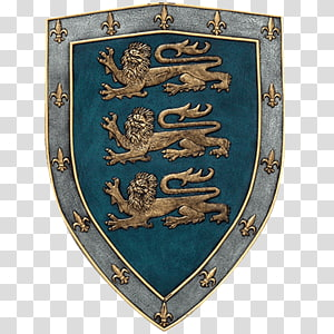 gold and gray fleur-de-lis with lion shield art, Middle Ages Royal coat of arms of the United Kingdom Crusades Shield, lion shield PNG