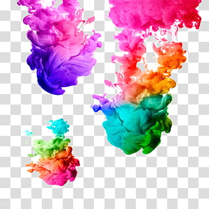 assorted-color smoke , Ink Acrylic paint Watercolor painting Watercolor painting, Colorful smoke PNG clipart