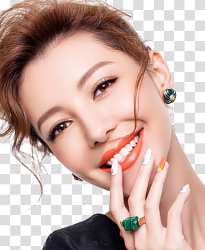 smiling woman holding lips while taking selfie, Lip balm Cosmetics Lipstick Cosmetology, Fashion makeup female face closeup PNG
