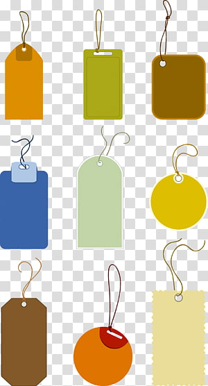 nine assorted tag illustration, Price, Tag PNG