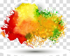 Ink Color, Free pull multicolor watercolor background PNG
